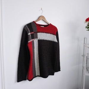 Vintage Sweaters - Vintage Geometric Colour Block Stitch Sweater